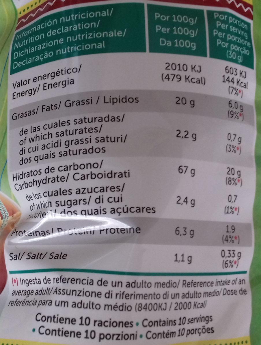 Totopos nachos de maíz fritos sabor natural sin gluten - Información nutricional
