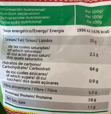 Totopos nachos de maíz fritos sabor natural sin gluten - Información nutricional - es