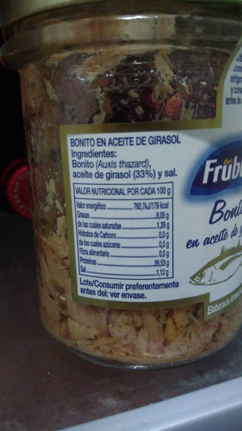 Bonito en aceite de girasol - Nutrition facts
