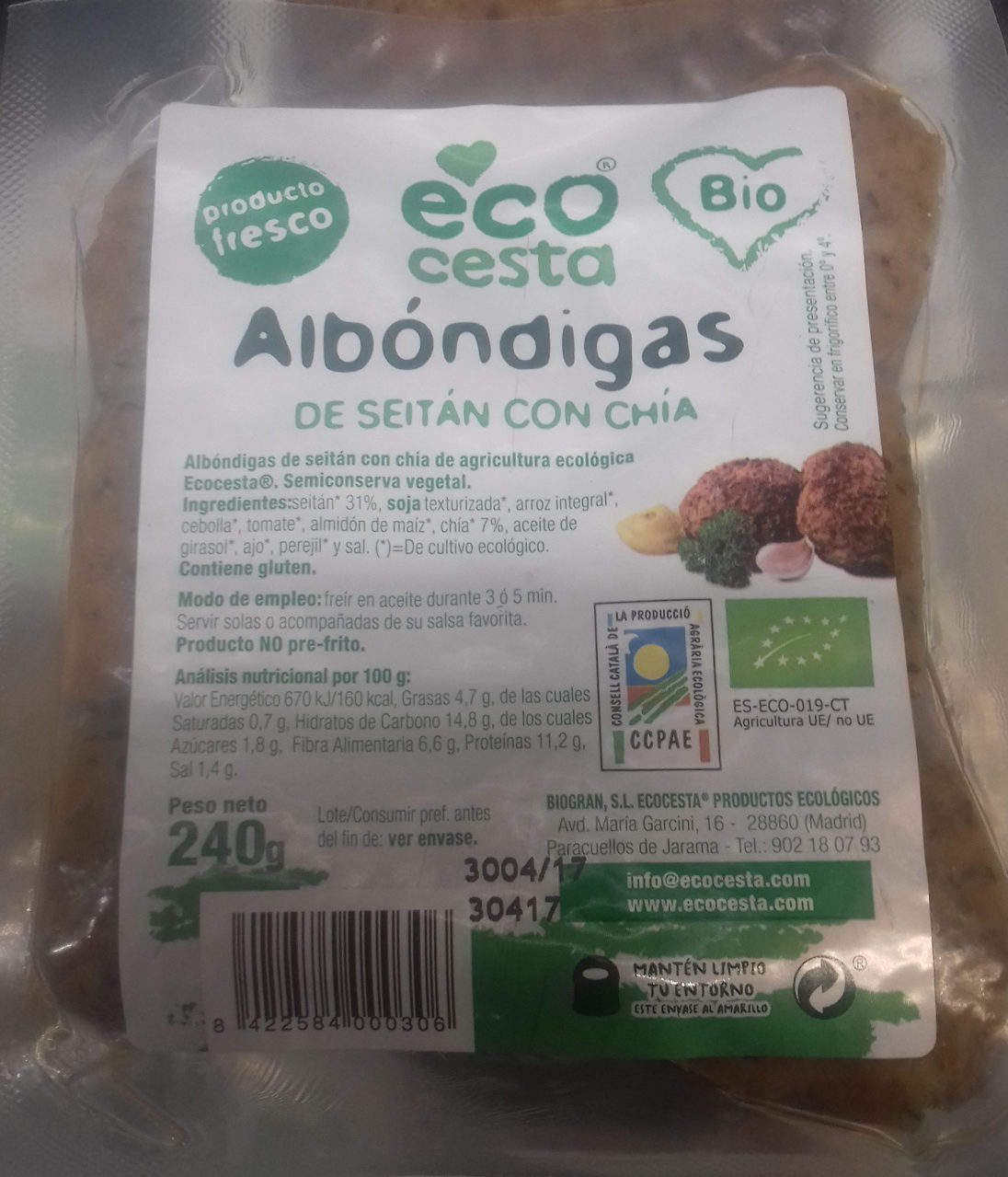 Alb ndigas de seit n con ch a ecocesta 240 g - Albondigas con verduras ...