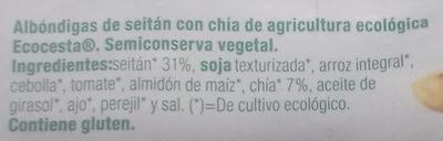 Albóndigas de Seitán con chía - Ingredients - es