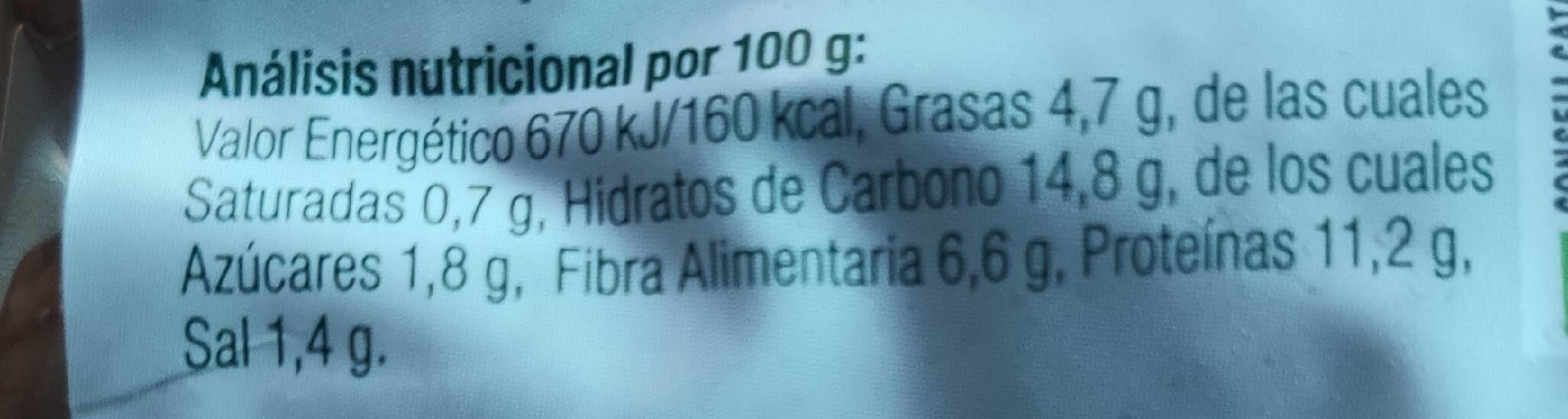 Albóndigas de Seitán con chía - Informació nutricional - es