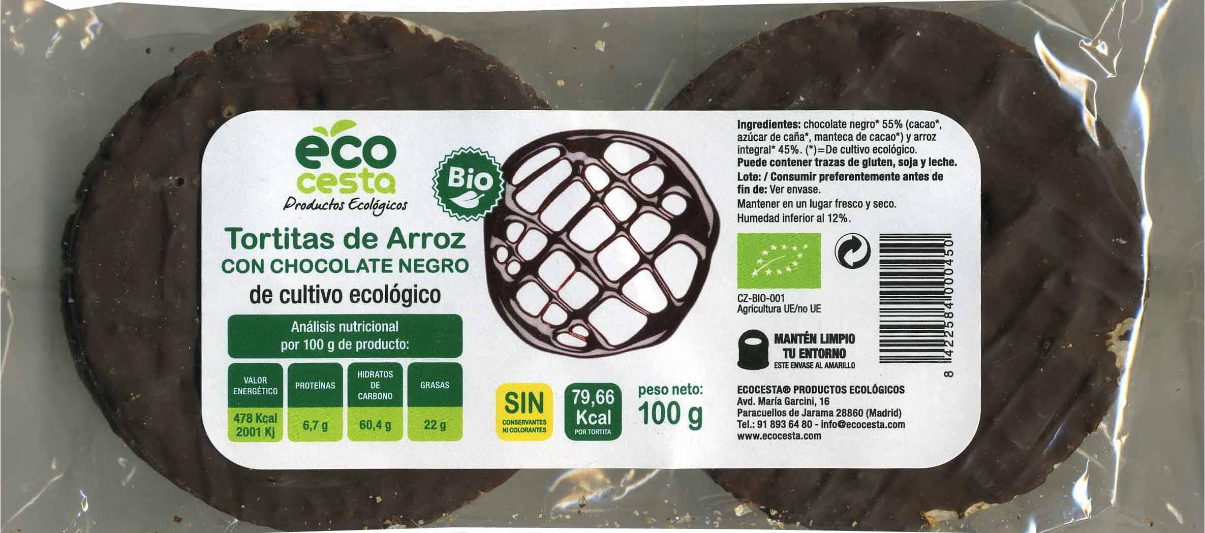 Tortitas de arroz con chocolate negro - Producte - es