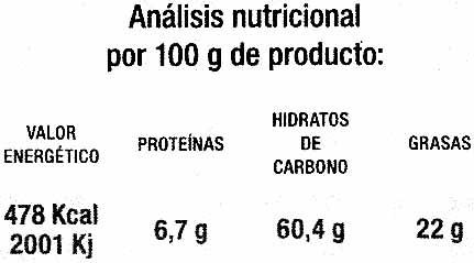 Tortitas de arroz con chocolate negro - Informació nutricional - es