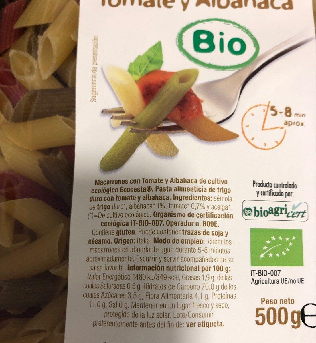 Macarrones Con Tomate Y Albahaca Ecológico - Ingredientes