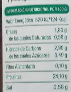 Seitán - Informació nutricional