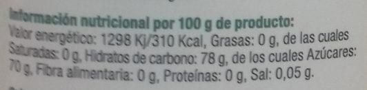 Sirope de agave - Voedigswaarden