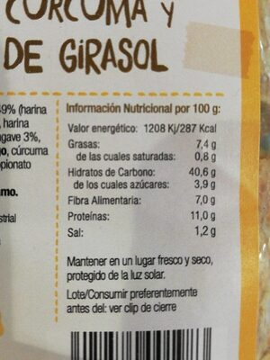 Pan taho curcuma semillas - Informations nutritionnelles - es