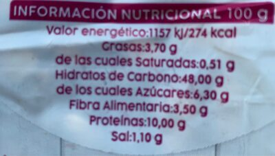 Pan integral semilla - Informations nutritionnelles - es