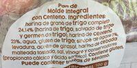 Pan de molde integral con centeno - Ingredients - es