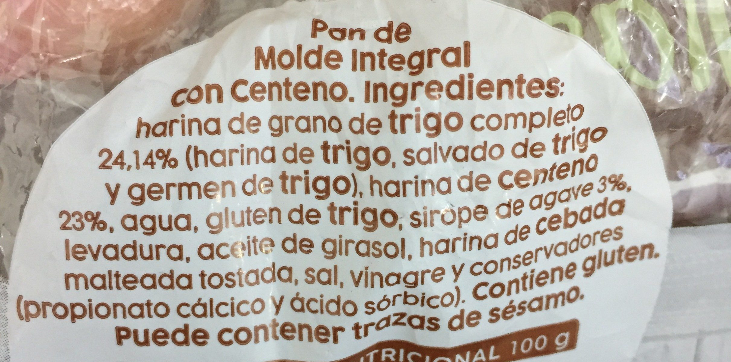 Pan de molde integral con centeno - Ingredients