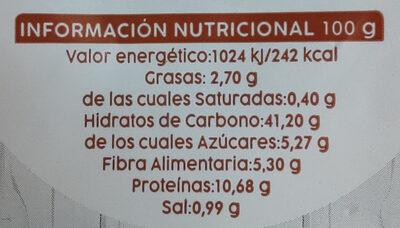 Pan de molde integral con centeno - Nutrition facts - es