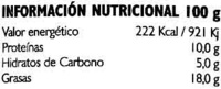 """Paté vegetal ecológico """"El granero Integral"""" Vegetal - Información nutricional"""
