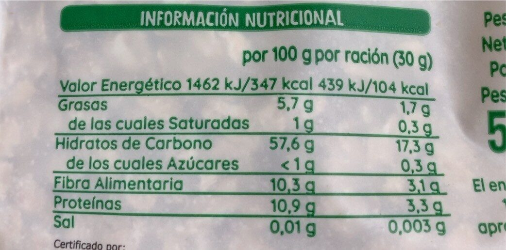 Copos de avena - Nutrition facts - es