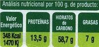 Copos de avena - Informació nutricional