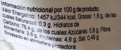 Harina de Maiz - Información nutricional