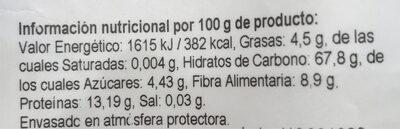 Harina de quinoa real - Informations nutritionnelles - es