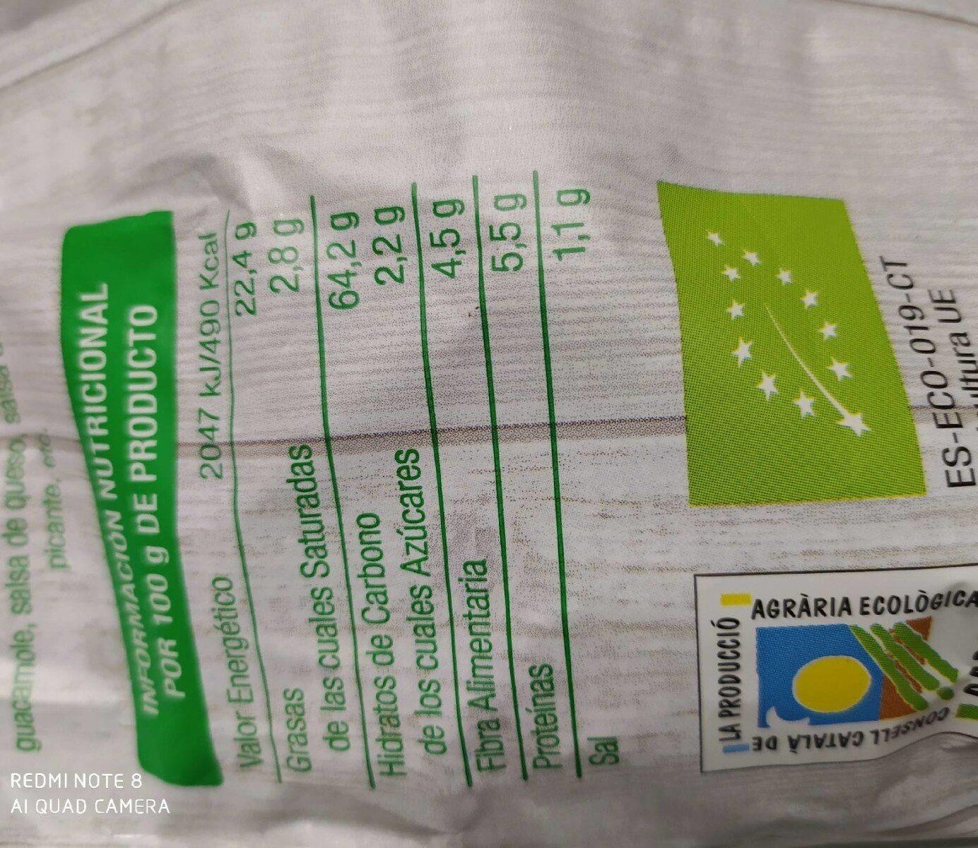 Nachos de maíz naturales - Informations nutritionnelles - es