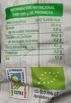 Nachos de maiz naturales - Informació nutricional - es