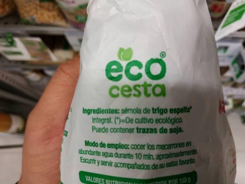 Macarrones integrales de trigo espelta - Ingrediënten
