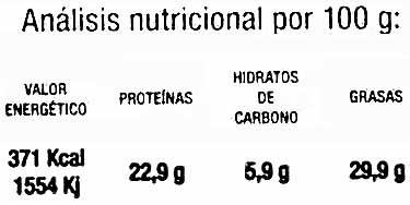 """Lino dorado ecológico """"Ecocesta Productos Ecológicos"""" - Informació nutricional"""