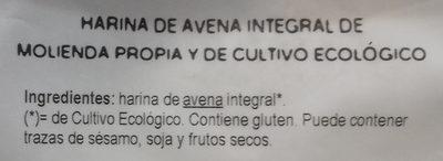 Harina de Avena Integral - Ingredientes