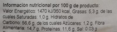 Harina de Avena Integral - Información nutricional