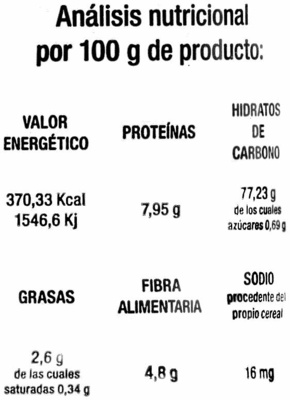 Tortitas de arroz sin sal añadida - Nutrition facts