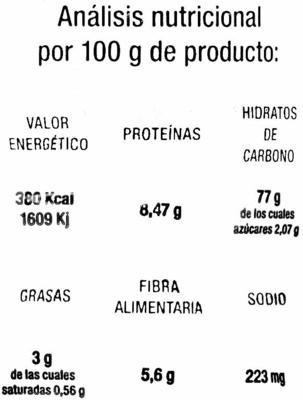 Tortitas de arroz con quinoa - Información nutricional - es
