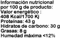 Soja texturizada fina - Información nutricional - es