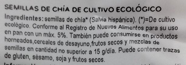 Semillas de chía - Ingredients