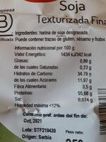 Soja Texturizada Fina - Nutrition facts - es