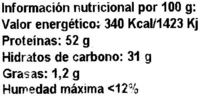 Soja Texturizada Gruesa - Información nutricional - es