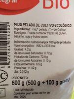 Mijo pelado de cultivo ecológico - Nutrition facts