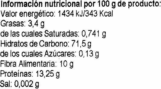 Trigo sarraceno - Informació nutricional - es