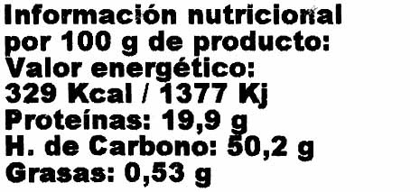Azuki - Informations nutritionnelles