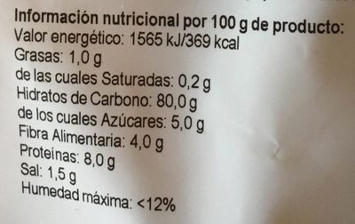 Copos de Maíz tostados de cultivo ecológico - Información nutricional