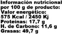"""Sésamo crudo ecológico """"El Granero Integral"""" - Informació nutricional"""