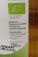 Vinagre de manzana Bio - Información nutricional