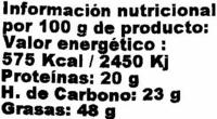 Semillas de sésamo tostado - Información nutricional - es