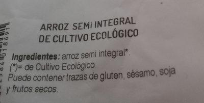 Arroz semi integral de cultivo ecologico - Ingredientes