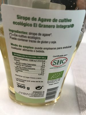 Granero Integral Agave Syrup Bio - Ingredients