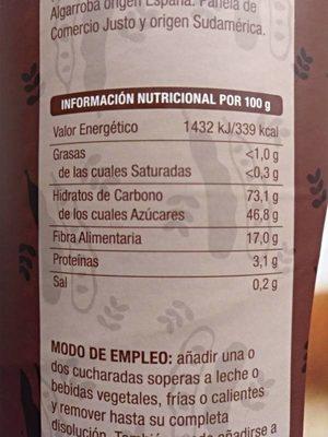 Algarroba soluble - Información nutricional