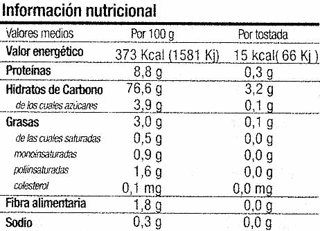 Bio tostadas con quinoa - Información nutricional - es
