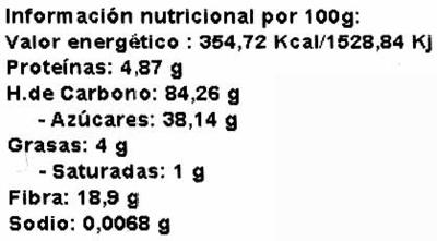 Harina de algarroba - Información nutricional