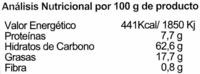 Galletas BioArtesanas Limón - Información nutricional