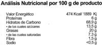 Galletas BioArtesanas Árabes - Informació nutricional