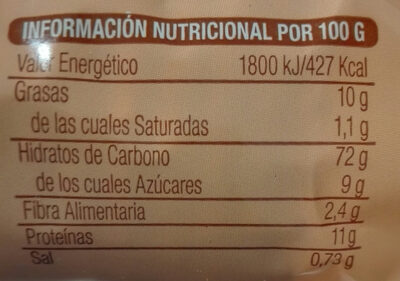 Bio soletes de espelta - Información nutricional - es