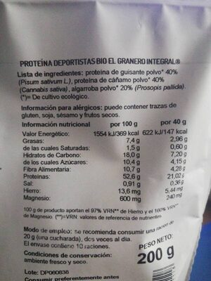 Bio plus sprt proteína de guisante, cáñamo y - Nutrition facts