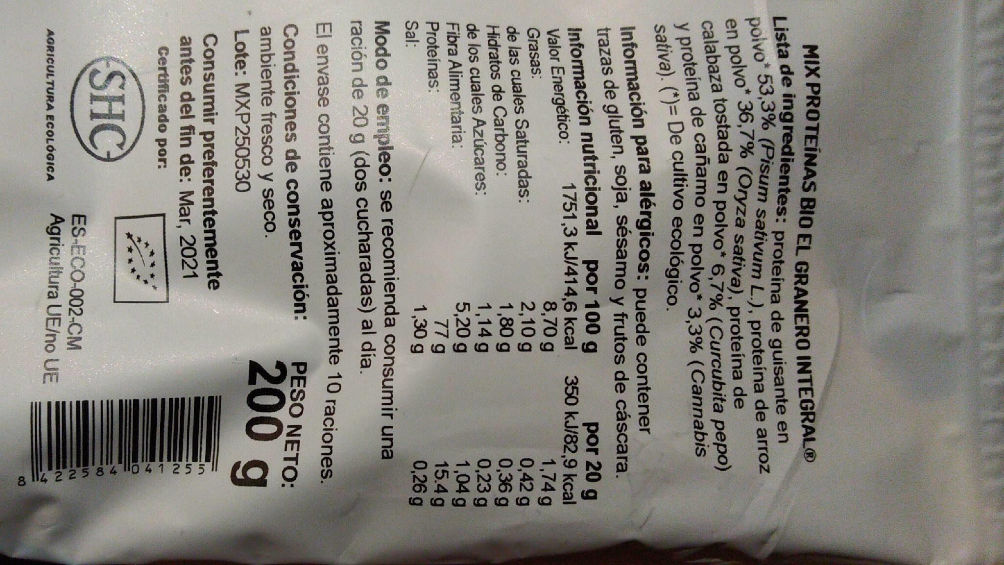 Mix Proteínas guisante, arroz, calabaza tostada y cáñamo - Informations nutritionnelles - es